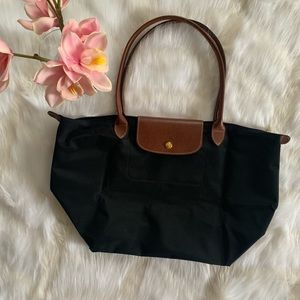 LONGCHAMP / LE PLIAGE BLACK MEDIUM TOTE